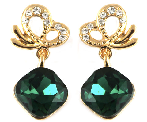 le petite princess kids green drop clip on earrings