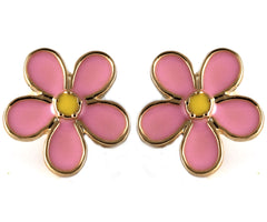 le petite princess pink daisy stud clip on earrings