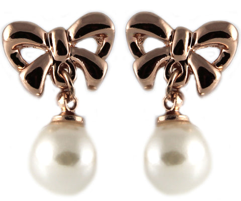 le petite princess pearl bow clip on earrings