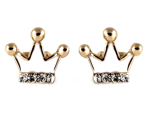 le petite princess white crown stud clip on earrings