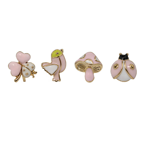 le petite princess pink nature set stud clip on earrings