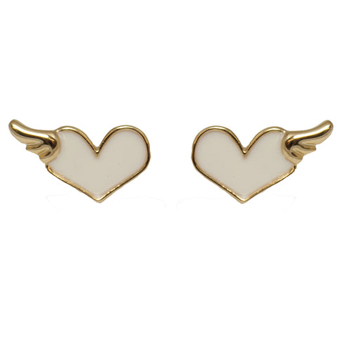 le petite princess white enamel heart stud clip on earrings