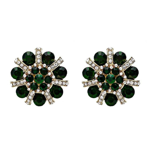 DOUBLE VINTAGE Large Emerald Floral Stud Clip On Earrings - cliponearringschic