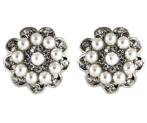 Vintage White Pearl Crystal Flower Cocktail Stud Clip on Earrings