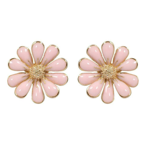 CHIC Pink Gerbera Flower Stud Clip On Earrings