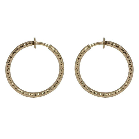 CHIC! Simple Gold Hoop Clip On Earrings