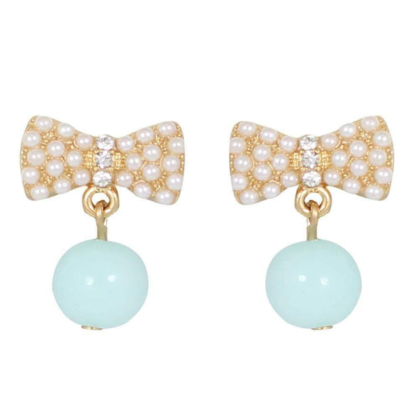 Drops - Colored Mini Pearls Gold Bow Drop