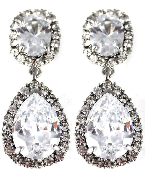 Drops - Silver Large Crystal Studded Double Drop