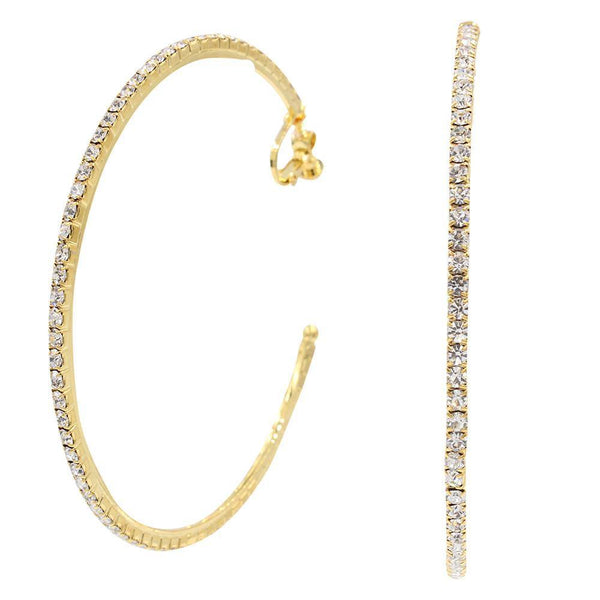 Hoops - Classic Traditional Crystal Gold Hoop
