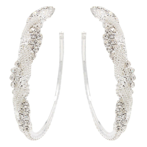 Hoops - Stunning Crystal Silver Braid Hoop