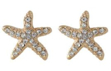 Studs - Gold Crystal Starfish Stud