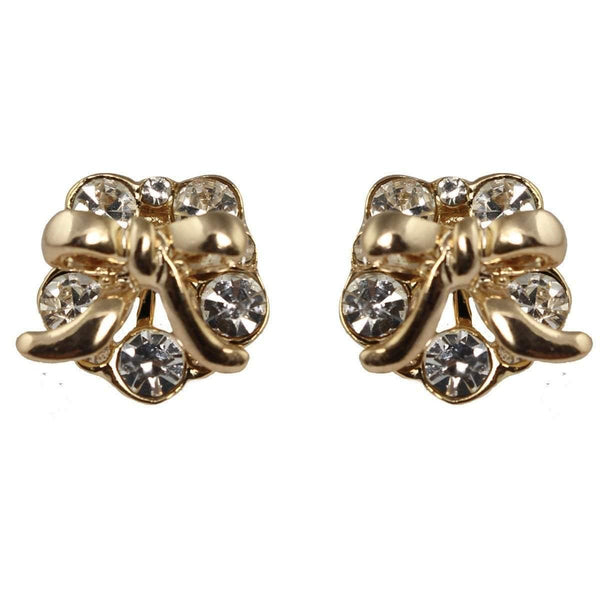 Studs - Gold Garland Crystal Bow Stud