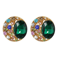 Studs - Green & Gold Jeweled Stud