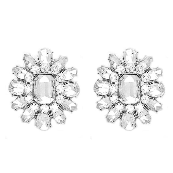 Studs - Large Clear Crystal Blossom Cocktail Stud