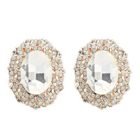 Studs - Large Oval Clear Crystal Gold Stud