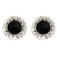 Studs - Large Vintage Onyx Crystal Cocktail Stud