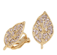 Studs - Studded Leaf Colored Swarovski Crystal Stud