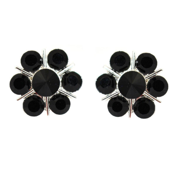 Studs - Vintage Flower Onyx Crystal Cocktail Stud