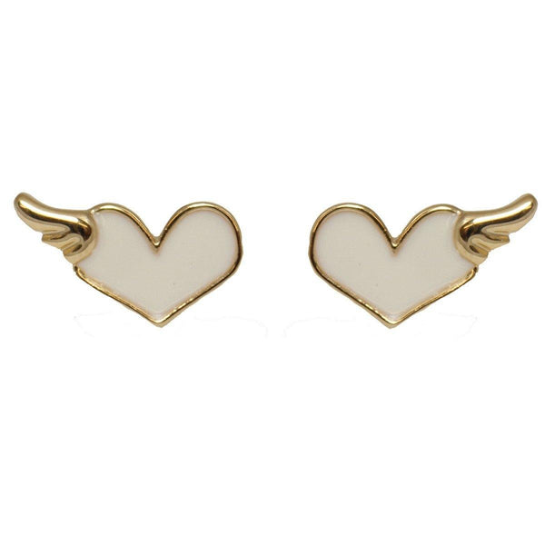 Studs - White Winged Hearts Stud