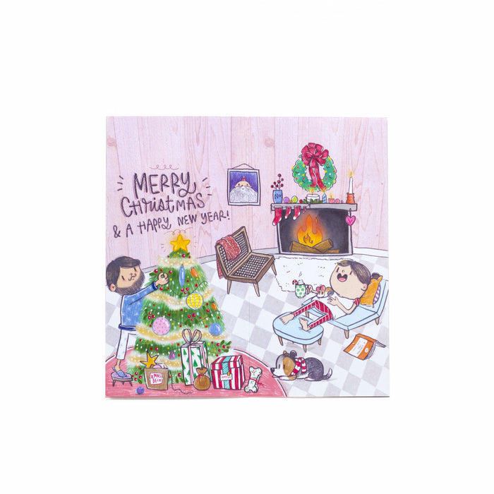 Merry Christmas Greeting Card - Glitter Laminated