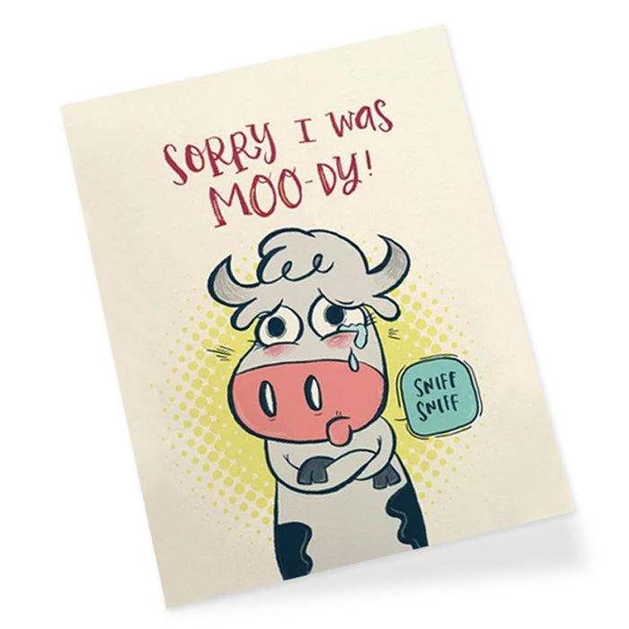 Moody Cow Greeting Card