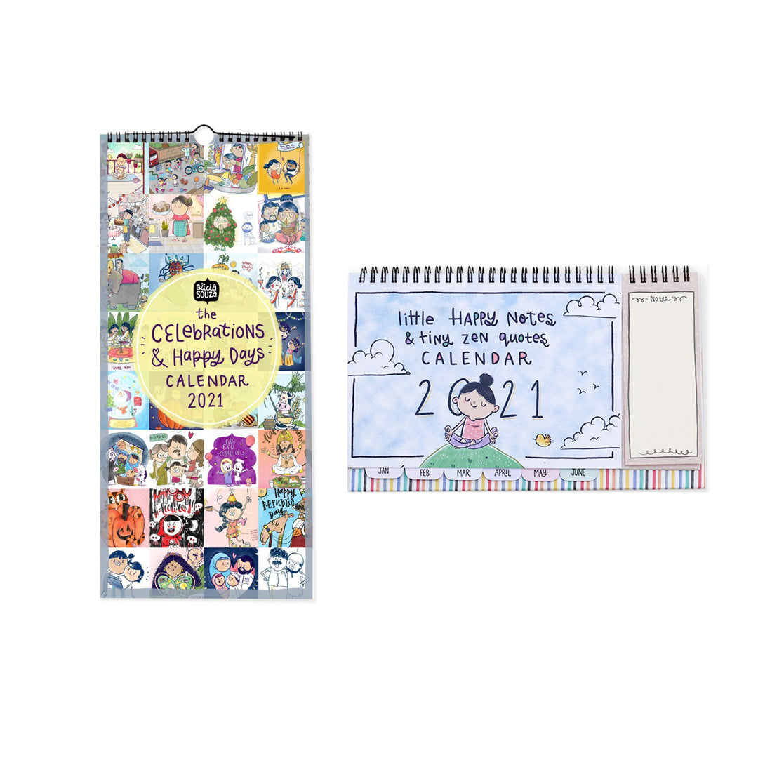 Little Happy Notes Desk + Celebrations Wall Calendar Combo