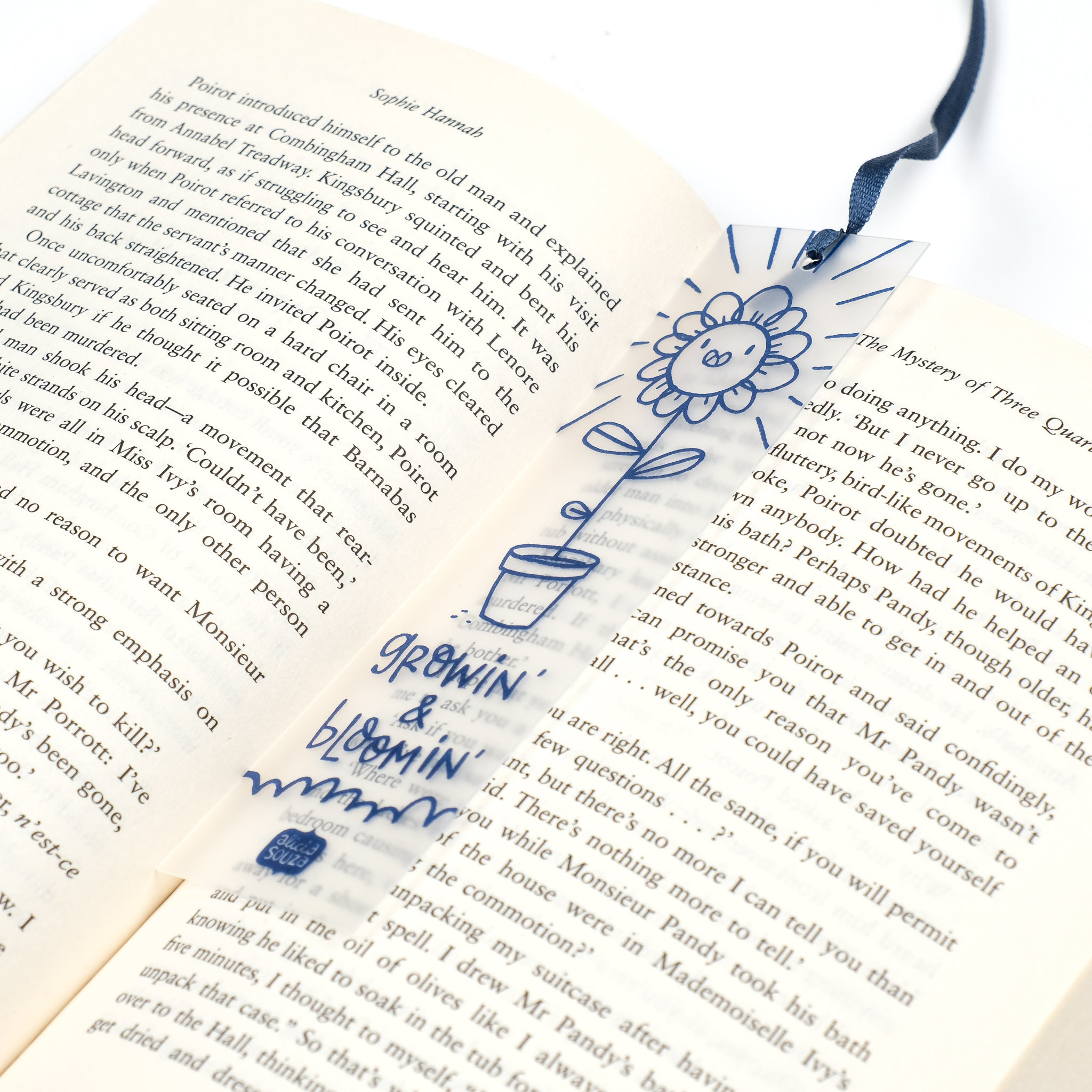 Flower Bookmark with Ribbon