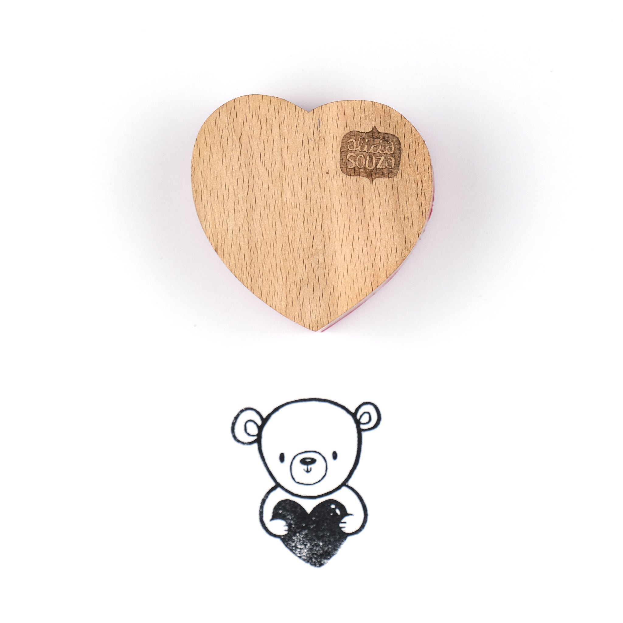 Heart-Shaped Wooden Teddy Stamp