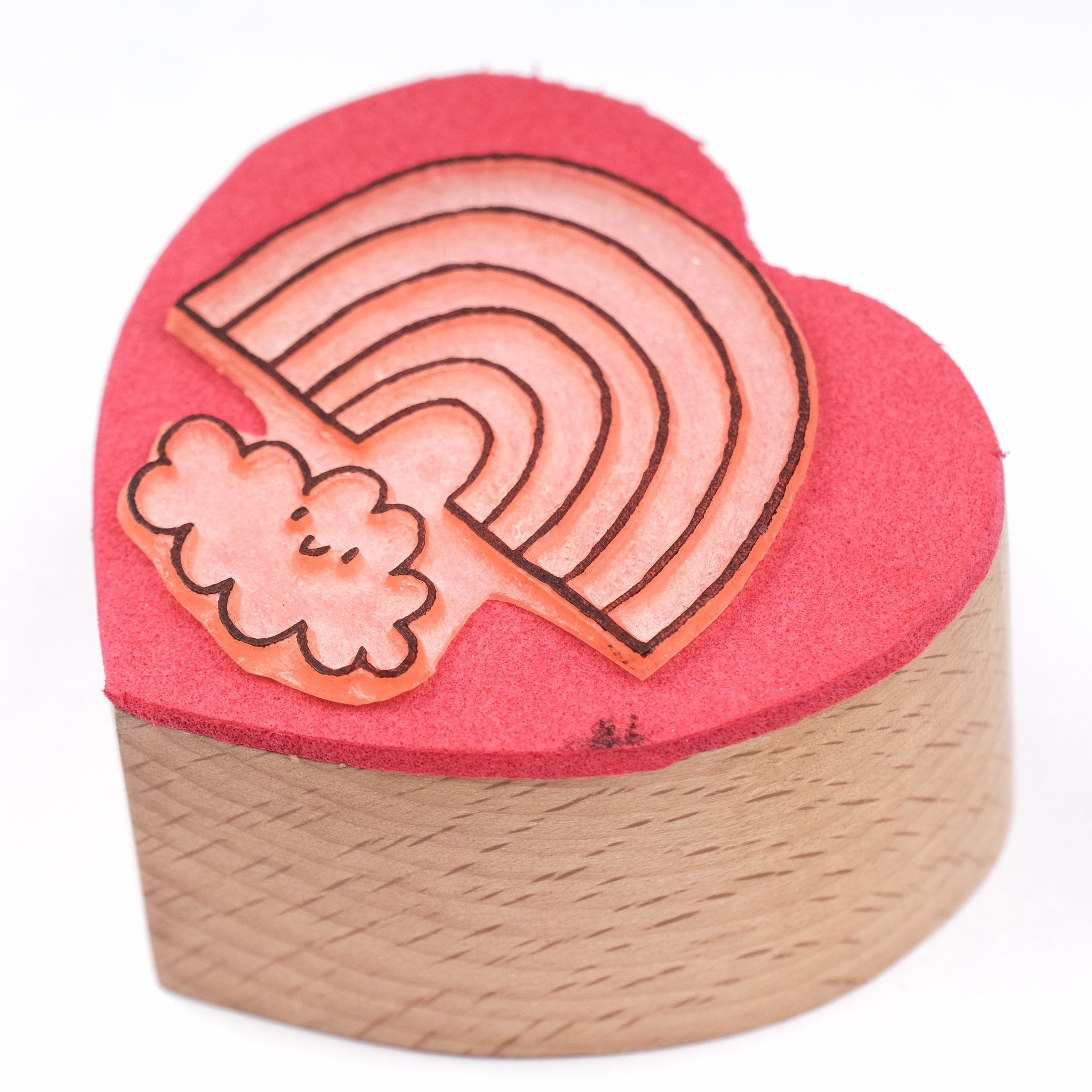 Heart-Shaped Wooden Rainbow Stamp