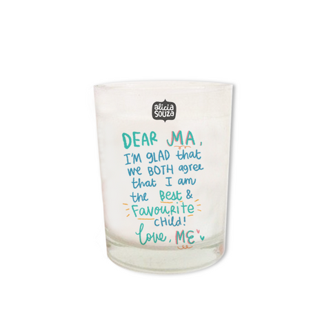 Favourite child shot glass candle