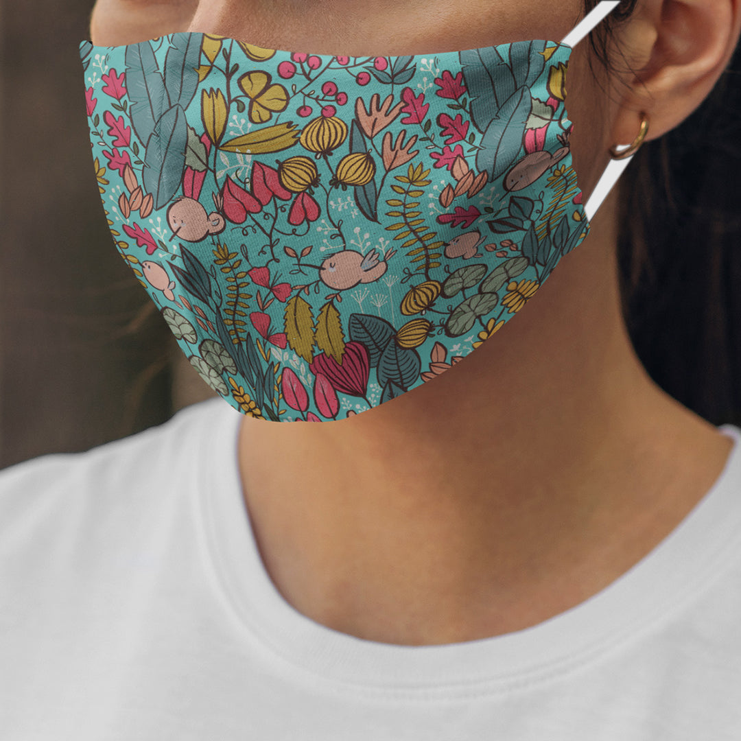Blue Garden Face Mask