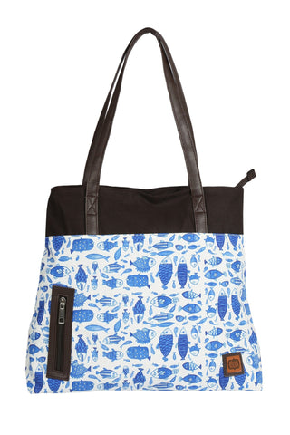 Accessories - China-Blue Fish Tote Bag
