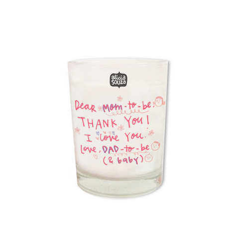 Mom-to-be shot glass candle