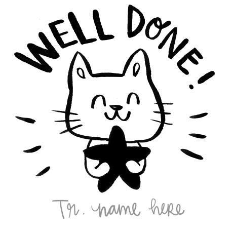 Well done Kitty Name Custom Stamp
