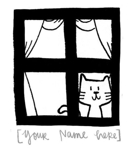 Window cat Name Custom Stamp