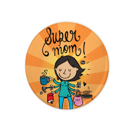 Super Mom Badge+Magnet