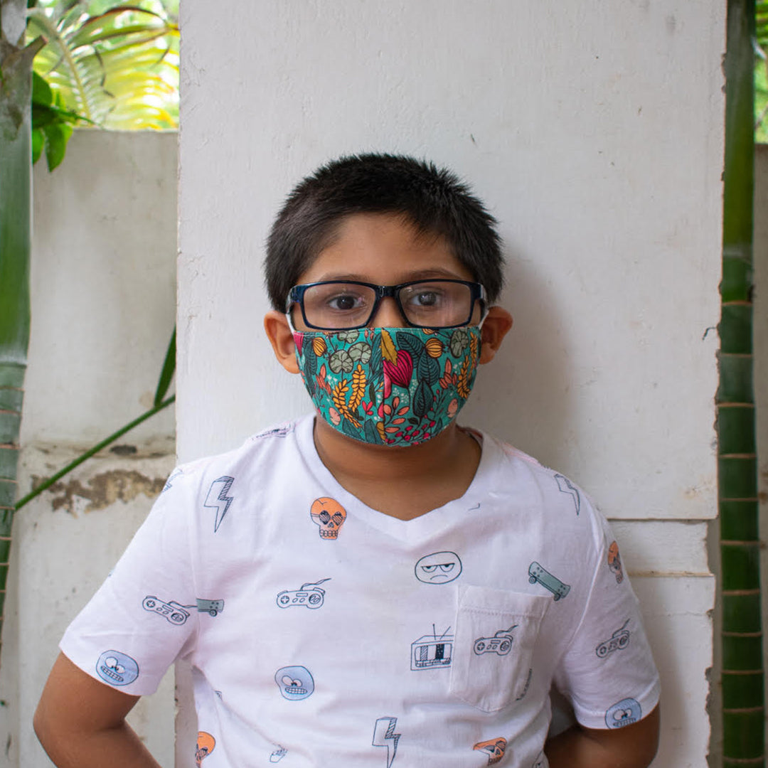 Blue Garden Face Mask - Kids