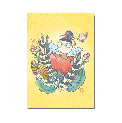 Yellow Flowers Postcard - SET OF 5