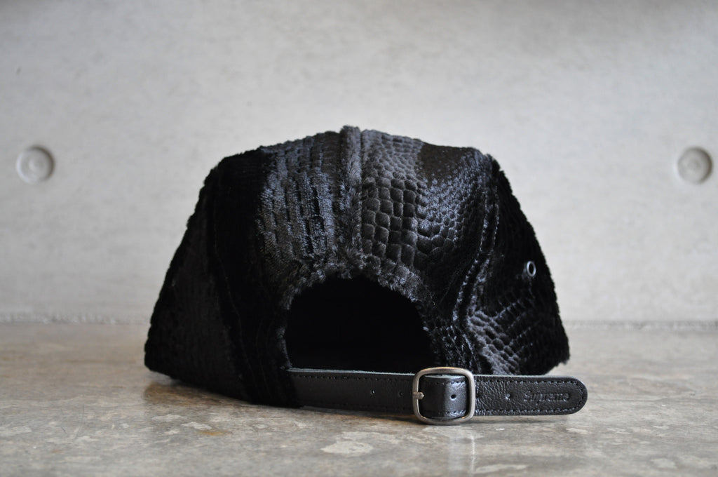 Supreme Velvet Croc Embossed Box Logo Camp Cap - Black