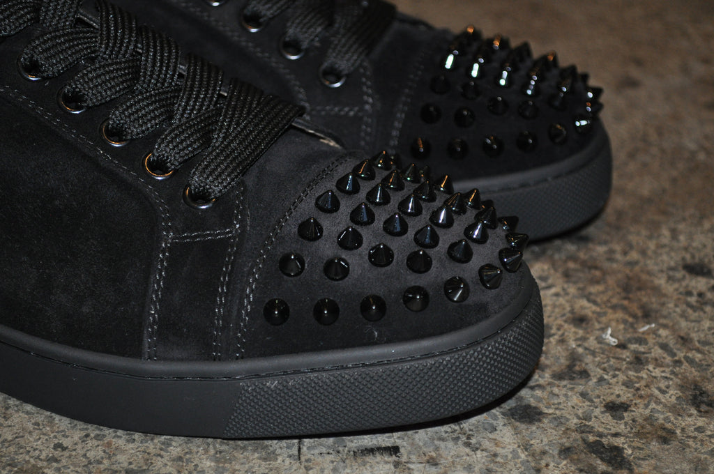 Christian Louboutin Louis Junior Spikes Flat Suede Black/Black