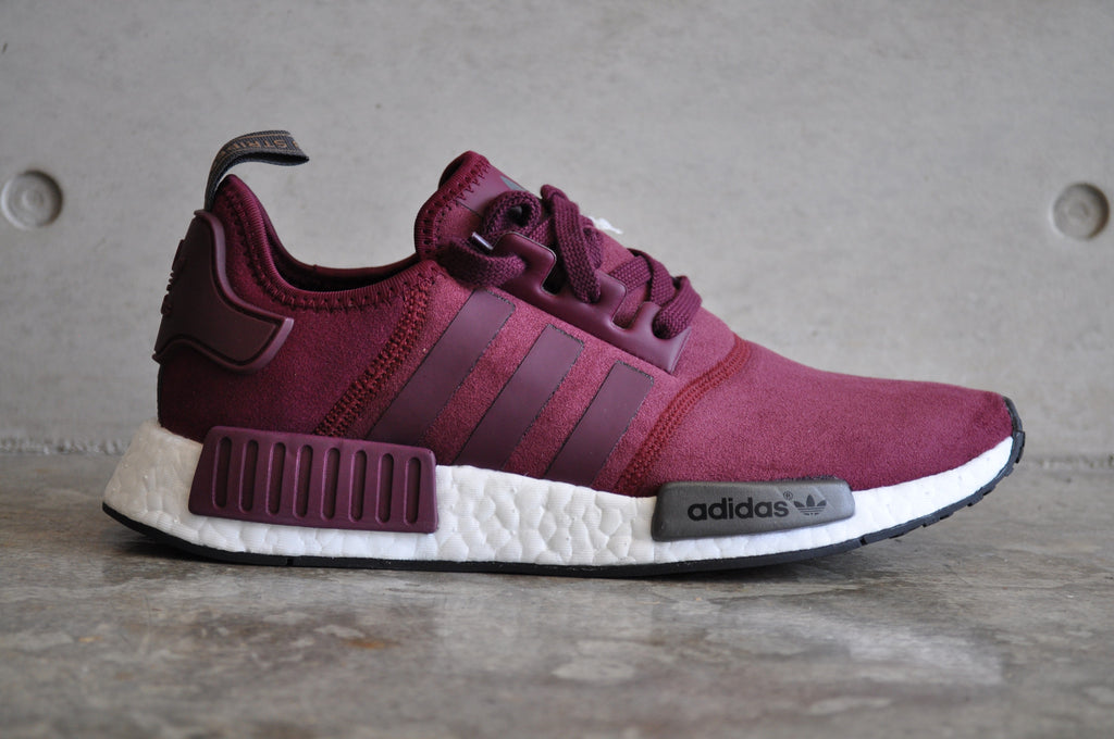 nmd r1 · b39506 · champs exclusive · wool grey/burgundy