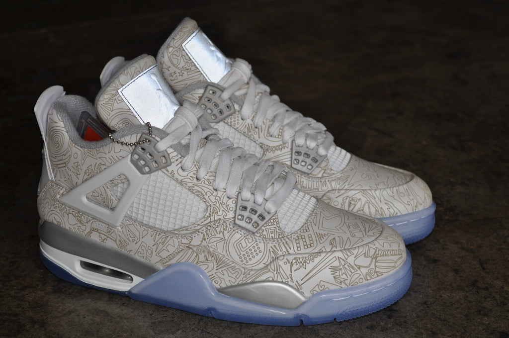 Nike Air Jordan 4 Retro 'Laser' 2015 - White/Chrome-Metallic Silver