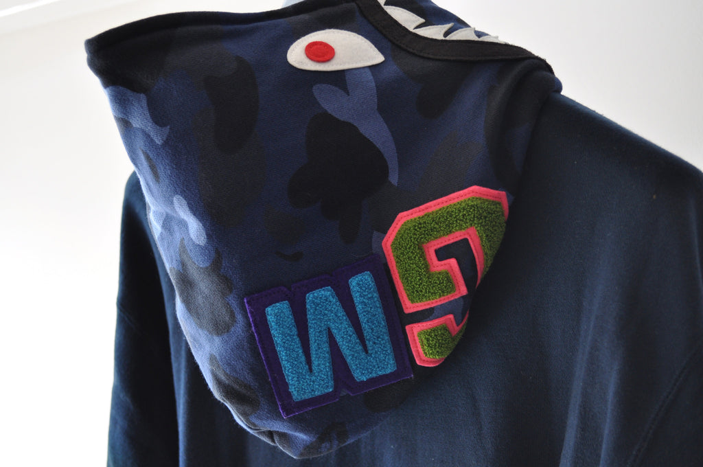 Bape A Bathing Ape Navy WGM Shark Nigo OG Full Zip Hoodie