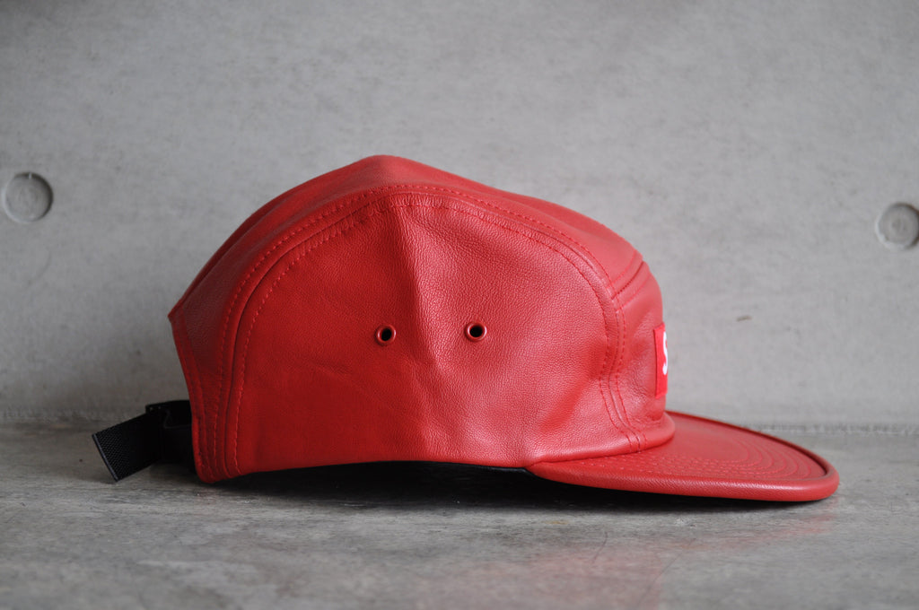 Supreme Leather Box Logo Camp Cap - Red