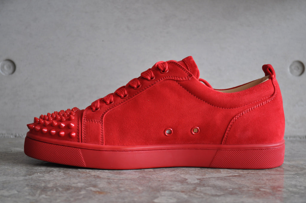 Christian Louboutin Louis Junior Spikes Flat Suede Red/Oeillet