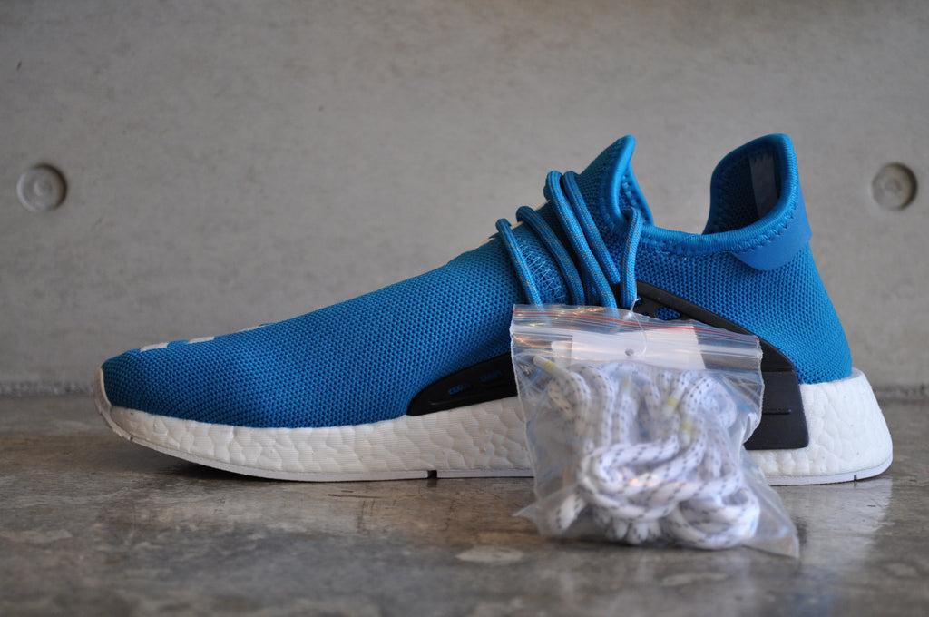 "Adidas NMD Pharrell Williams Human Race ""Human Being"" Sharp Blue - Black/White"
