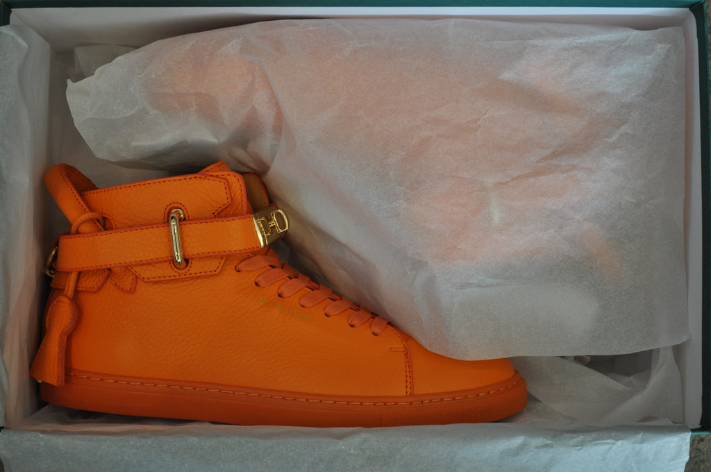 Buscemi 100mm Leather Mid Top Sneaker - Orange/Gold