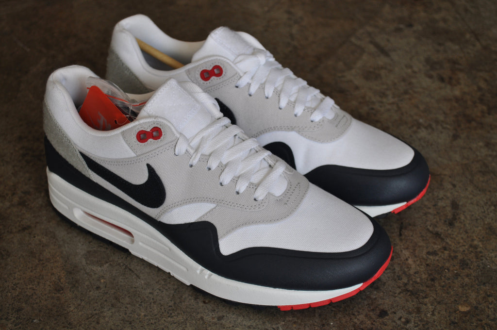 Nike Air Max 1 Navy Paris OG Patch - White / Obsidian - University Red