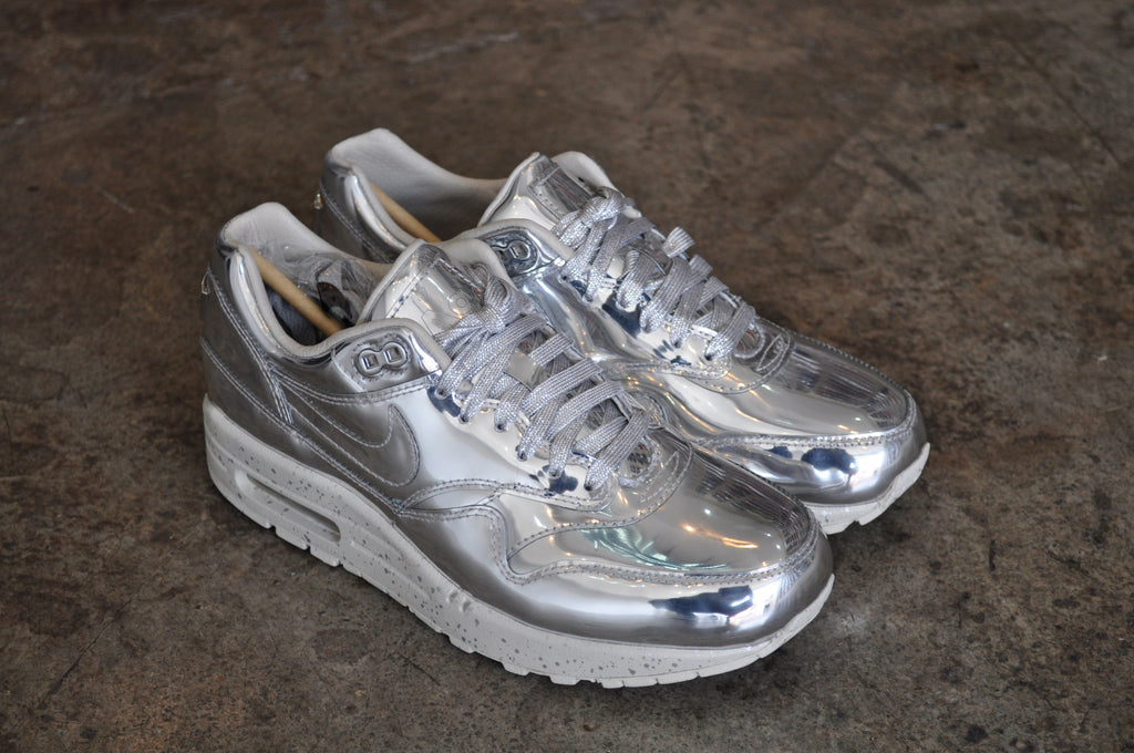 "Nike Air Max 1 SP ""Liquid Metal"" - Metallic Silver Size 6 UK"