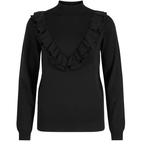Y.A.S - Flaunt LS Knit Pullover - Black - 26007436 - AW17